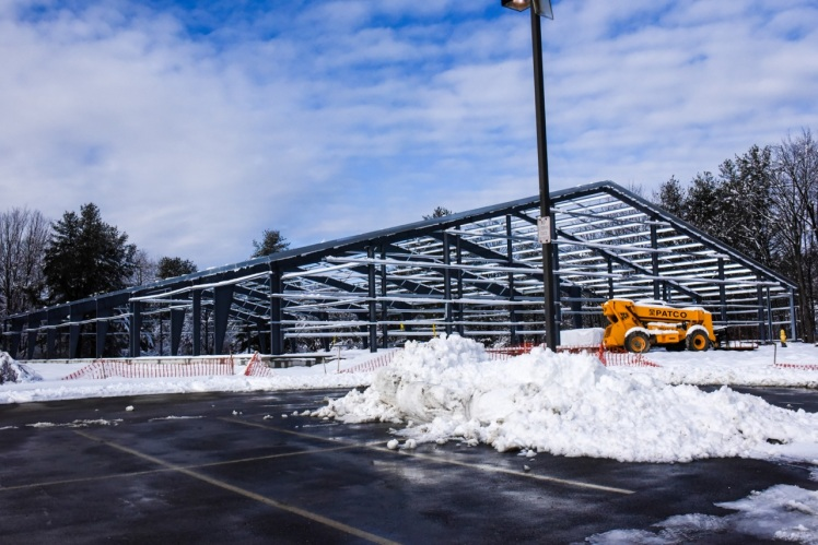 The structure is up and ready for final construction in March